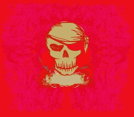 Skull Pirate - retro card       Stock Vector - 10551924