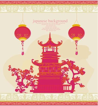 pagoda: papel viejo con paisaje asi�tico y linternas chinas - fondo de estilo japon�s vintage
