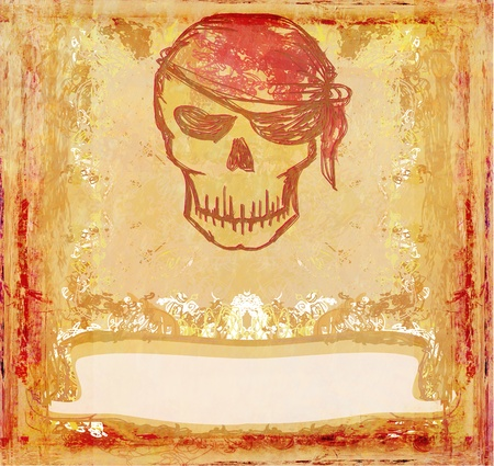 Skull Pirate - retro grunge card  Stock Photo - 10715962