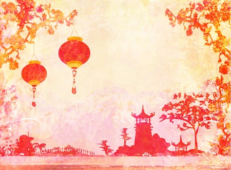 chinese pagoda:  old paper with Asian Landscape and Chinese Lanterns