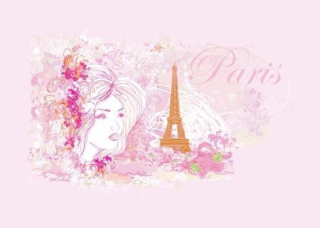beautiful women Shopping in Paris card        Vector