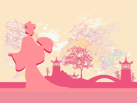 Abstract Beautiful geisha and asian landscape         Vector