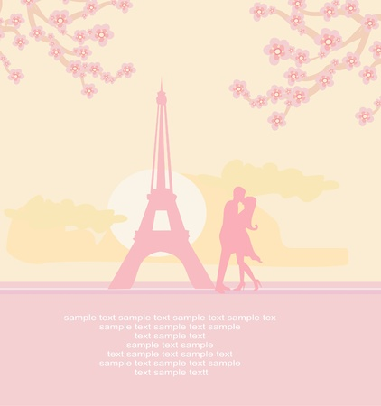 couples outdoors: Romantic couple in Paris kissing near the Eiffel Tower.          Illustration