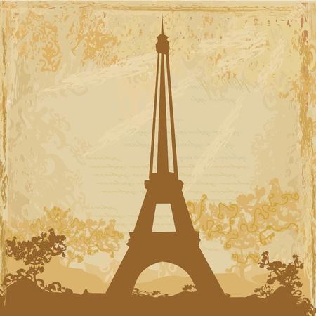 vintage, retro Eiffel tarjeta