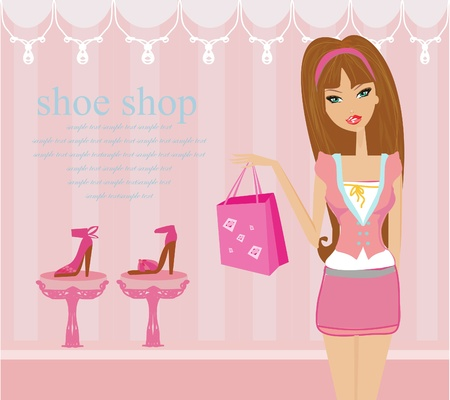 Fashion girl shopping in shoe shop        Vector