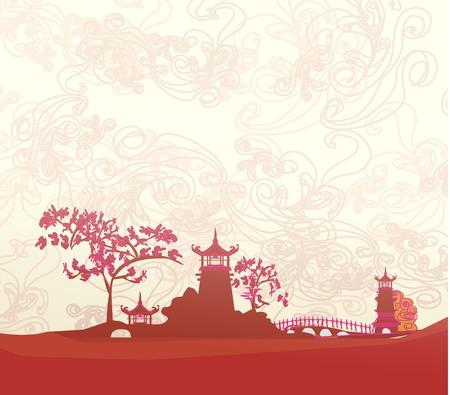 vieux papier avec paysage asiatique