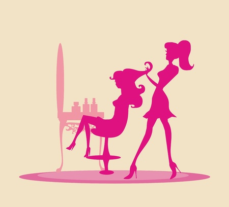 Illustration of the beautiful woman in hairdressing salon    Vector