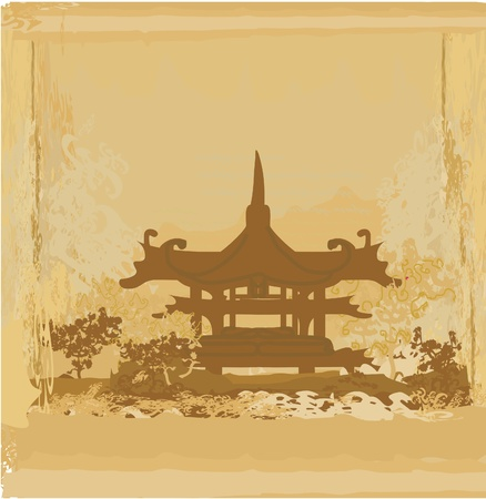 Old paper with Asian Landscape Stock Vector - 11114999