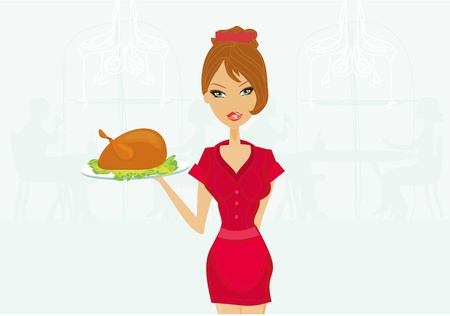 Beautiful Waitress serving a turkey           Ilustrace