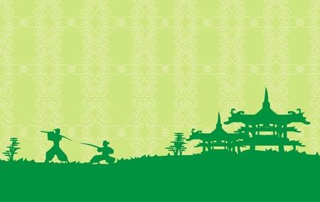 Samurai silhouette in Asian Landscape Stock Vector - 11277107
