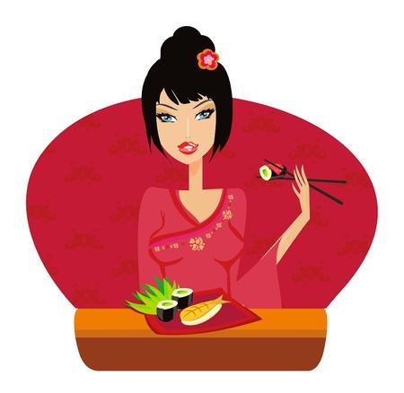 beautiful Asian girl enjoy sushi