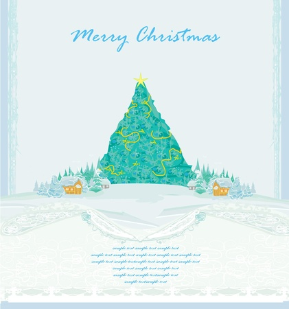 Abstract christmas tree card Stock Vector - 11277122