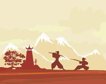 Silhouette Samurai en paysage asiatique Vecteurs