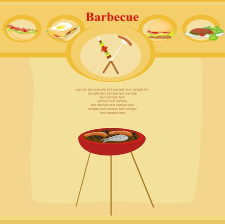Barbecue Party Invitation with copy space            Vector