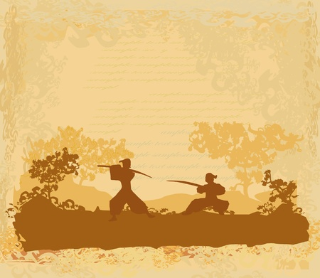 japanese flower: Samurai silhouette in Asian Landscape