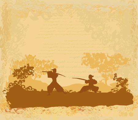 Samurai silueta en el paisaje de Asia Ilustración de vector