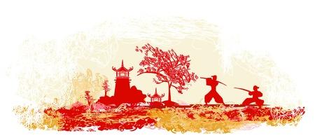 pagoda: Samurai silhouette in Asian Landscape