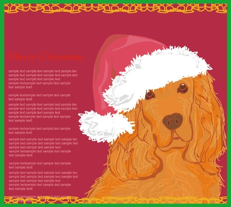 american cocker spaniel laying down wearing santa hat - card       Vector