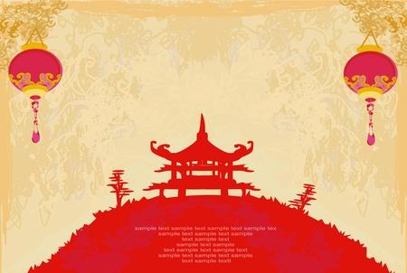 pagoda: papel viejo con Paisaje de Asia y linternas chinas - fondo de �poca de estilo japon�s