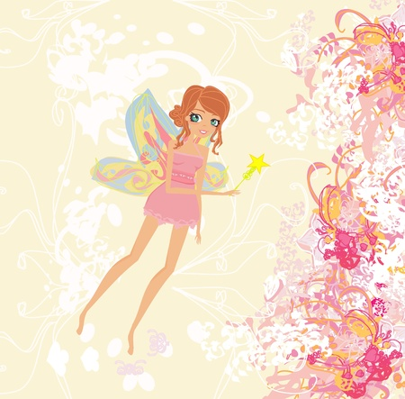 nymph: floral background with a beautiful fairy              Illustration