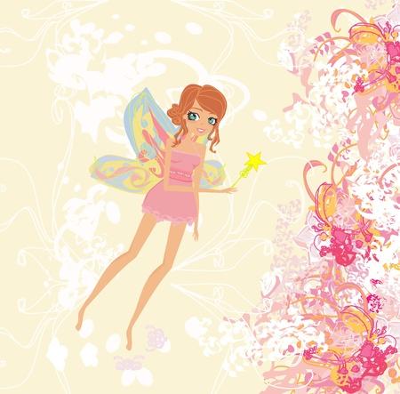 fond floral avec une belle fée