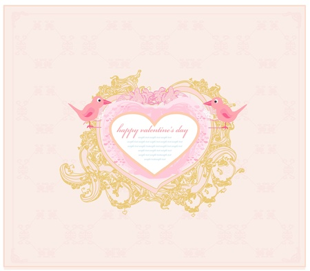 valentine's day greeting card with 2 sweet love birds Stock Vector - 11563561
