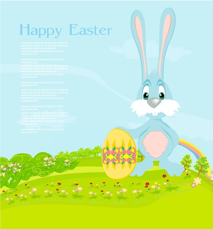 Illustration of happy Easter bunny carrying egg Illustration