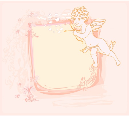 happy valentine's day card with cupid Stock Vector - 11563559