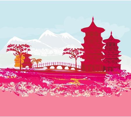 montagna: vecchia carta con Asian Landscape