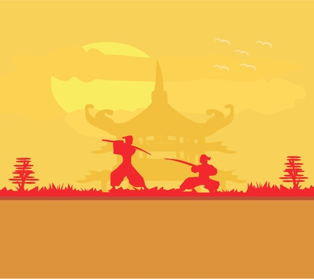Samurai silhouette in Asian Landscape Stock Vector - 11563554