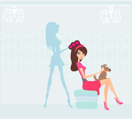 Vector illustration of the beautiful woman in hairdressing salon Stock Vector - 11563640