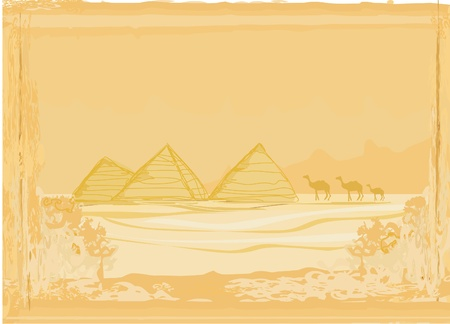 cheops: old paper with pyramids giza
