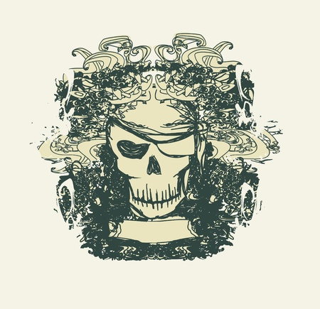 pirate flag: Skull Pirate - retro card Illustration