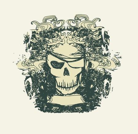 Skull Pirate - retro card 矢量图片