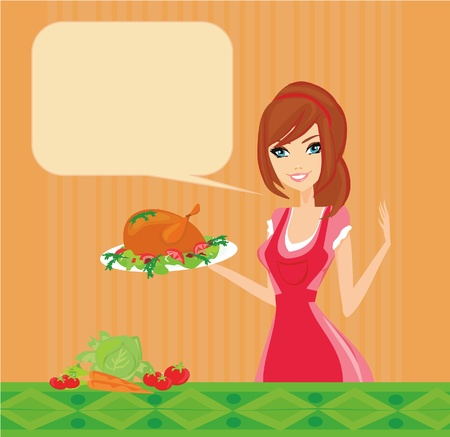 stereotypical housewife: Beautiful lady cooking chicken  Illustration