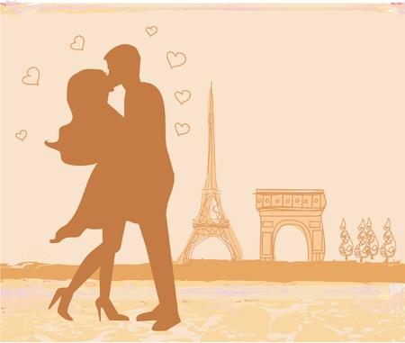 Romantic couple in Paris kissing near the Eiffel Tower. Retro card. Stock Vector - 11563588