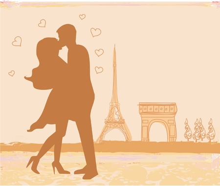 Romantic couple in Paris kissing near the Eiffel Tower. Retro card.  Illustration