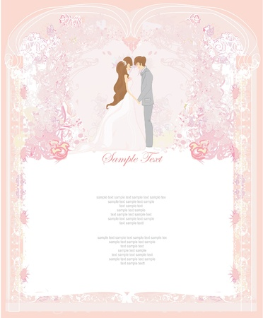 heiraten: Elegante Hochzeits-Einladung Illustration