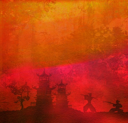Samurai silhouette in Asian Landscape photo