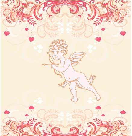 happy valentines day card with cupid Stock Vector - 11658025