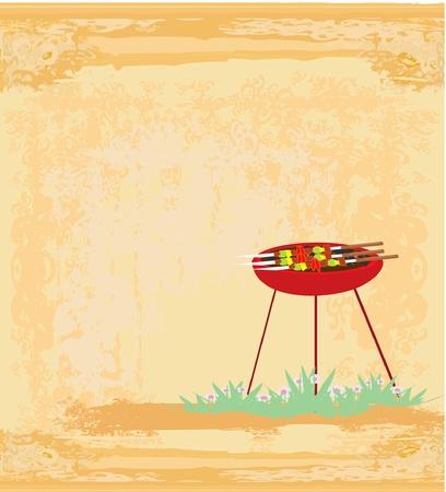 grill meat: Invitation Barbecue Illustration
