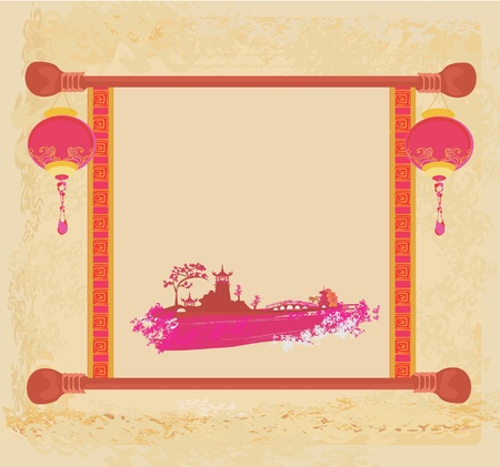 old paper with Asian Landscape and Chinese Lanterns - vintage japanese style background Stock Vector - 11658032
