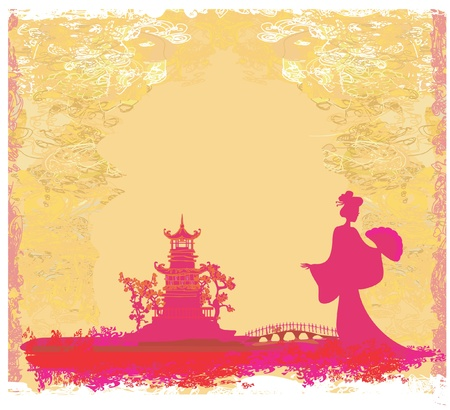 old paper with Asian Landscape  Stock Vector - 11658038