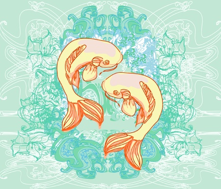 coy fish: japanese koi vector background Illustration
