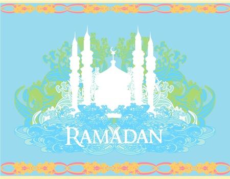 Ramadan background - mosque silhouette vector card  Stock Vector - 11658049