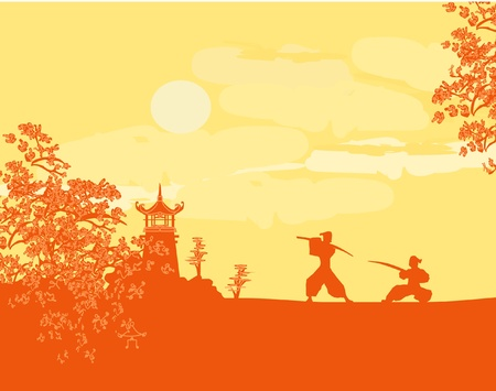 old paper with Samurai silhouette Stock Vector - 11658044