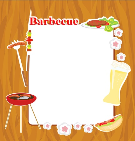 ham sandwich: Barbecue Party Invitation Illustration