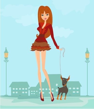 Girl and her puppy  Illustration