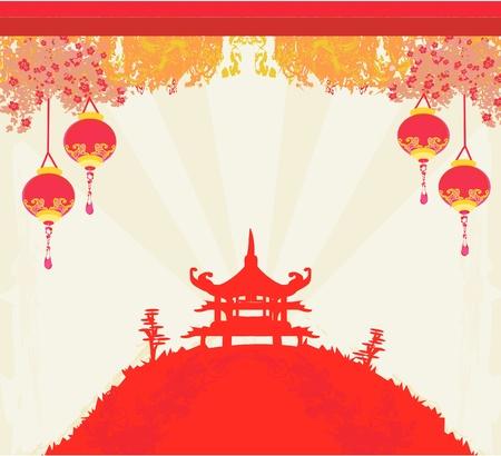 papel viejo con Paisaje de Asia y linternas chinas - fondo de época de estilo japonés
