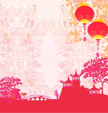 chinese pagoda: old paper with Asian Landscape and Chinese Lanterns - vintage japanese style background  Illustration